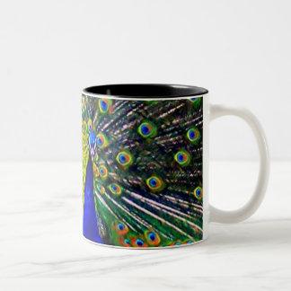 Peacock Mug-Close Two-Tone Coffee Mug