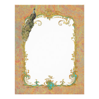 Peacock n Paisley Ornate Art Print Cards Letterhead
