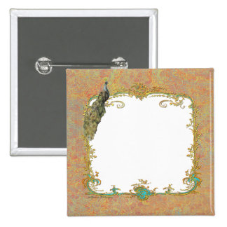 Peacock n Paisley Ornate Save the Date Magnet Pinback Button