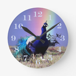 Peacock of joy round clock