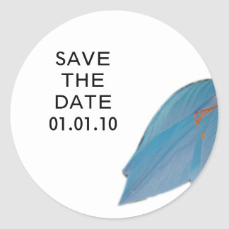 Peacock & Olive Flower Save the Date Sticker