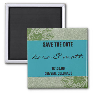 Peacock & Olive Save the Date Square Magnet