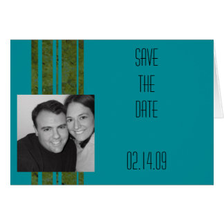 Peacock & Olive Stripe Photo Save the Date Greeting Card
