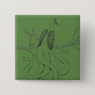Peacock on a branch 2 inch square button