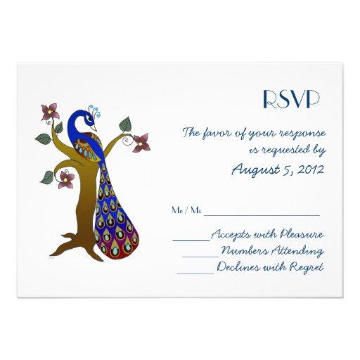 Peacock on a tree (blue) RSVP Invite