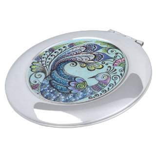 Peacock on Blue Compact Mirror