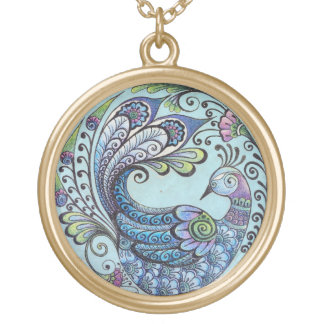 Peacock on Blue Pendant - Large Gold