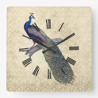 Peacock on Elegant Ivory Damask Square Wall Clock