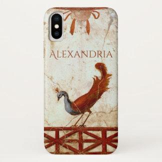 Peacock on Fresco Ancient Roman Antique Painting iPhone X Case