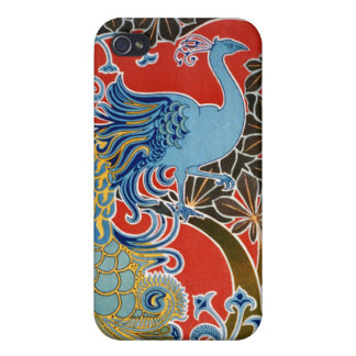 Peacock on Red Case For iPhone 4