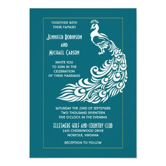 Peacock on Teal Bold Stylish Art Deco Design Card