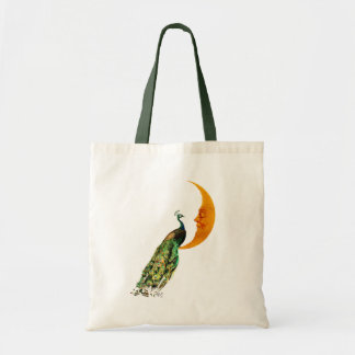 Peacock on the Moon Tote Bag