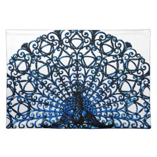 Peacock Ornate Wire Design Fabric Print Placemats