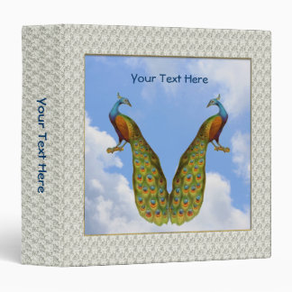 Peacock Pair Bird Art Vinyl Binder