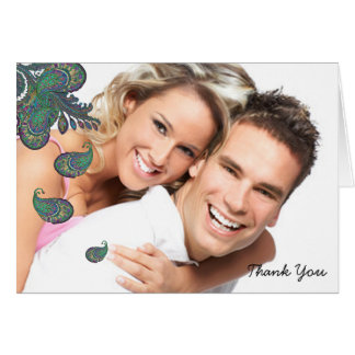 Peacock Paisley Wedding Thank You Note Cards