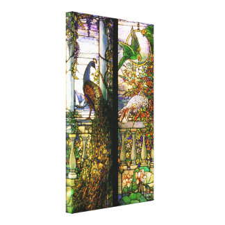 Peacock Parrot Bird Stained Glass Stretched Canvas