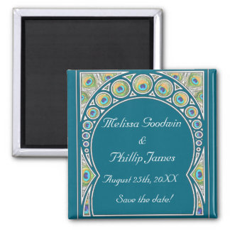 Peacock Pattern Save The Date Magnet