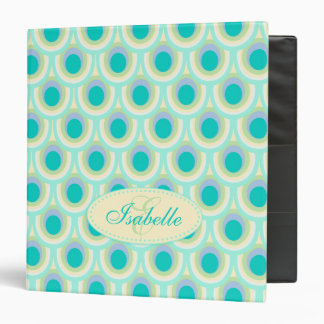 Peacock patterned aqua mint add your name folder 3 ring binder