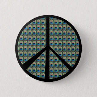 Peacock Peace Sign 2 Inch Round Button