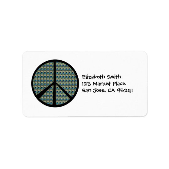 Peacock Peace Sign Address Labels