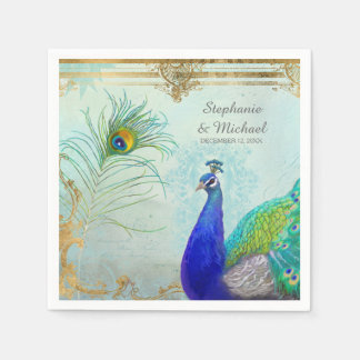 Peacock Peafowl Tail Feathers Faux Gold Leaf Swirl Disposable Napkins