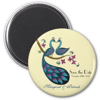 Peacock peahen save the date, ivory magnet