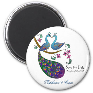 Peacock peahen - save the date magnet (kantha/wh)
