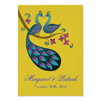 Peacock-Peahen Save the Date (mustard) Card