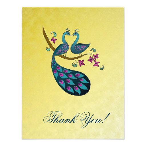 Peacock -Peahen Thank You cards -mustard yellow Announcements