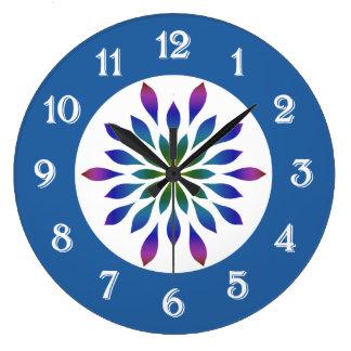 Peacock Petals Floral Large Clock