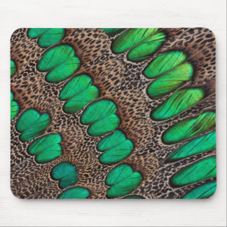 Peacock Pheasant Feather Abstract Mouse Pad