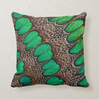 Peacock Pheasant Feather Abstract Throw Pillow