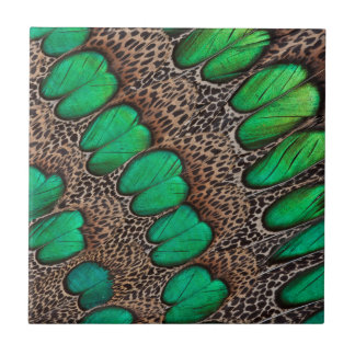 Peacock Pheasant Feather Abstract Tile
