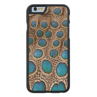 Peacock-pheasant feather design carved maple iPhone 6 case