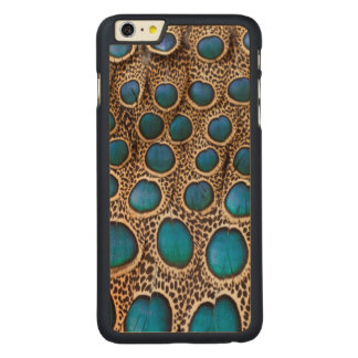 Peacock-pheasant feather design carved® maple iPhone 6 plus case