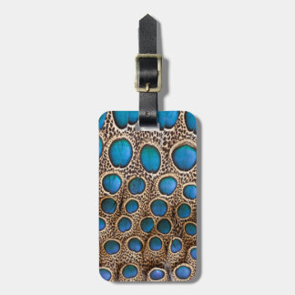 Peacock-pheasant feather design luggage tag