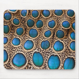 Peacock-pheasant feather design mouse pad