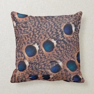 Peacock Pheasant Feather Design Throw Pillow