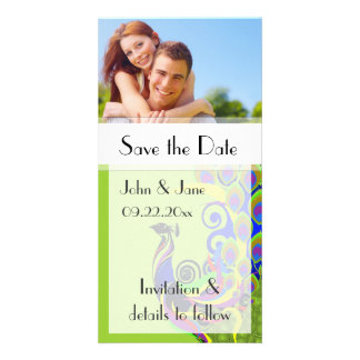 "Peacock/photo  ""Save the Date"" Photo Greeting Card"