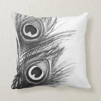 Peacock Pillow - Black and White