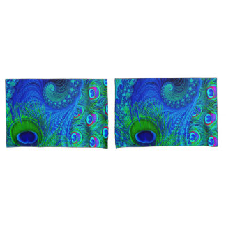 Peacock Pillow Cases Pair