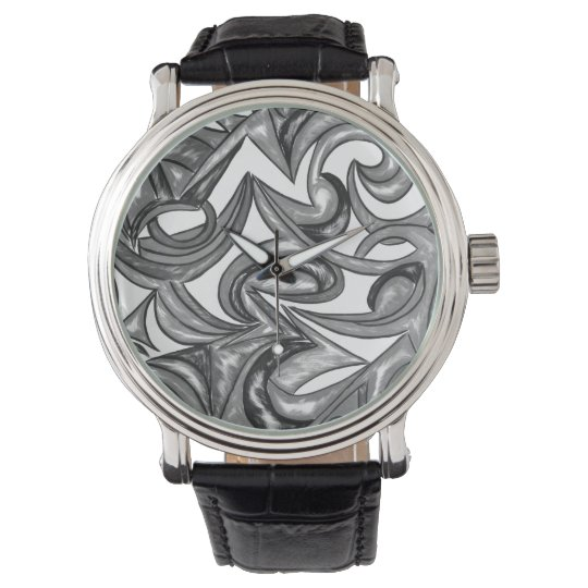 Peacock Plumage - Abstract Art Hand Painted Wristwatch