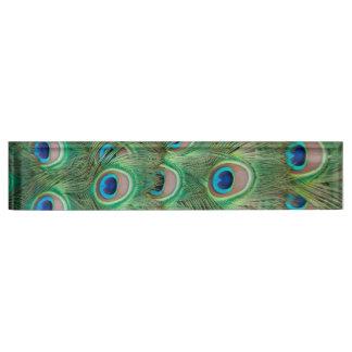Peacock plumage desk nameplates