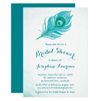 Peacock Plume Bridal Shower Invitations