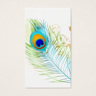 PEACOCK PLUME+FILIGREE SWIRLS BUSINESS CARD