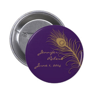Peacock Plume in Gold and Plum Pin