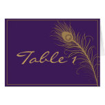 Peacock Plume in Gold and Plum Table Number Card
