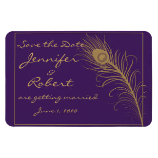Peacock Plume in Gold and Purple Plum Save the Dat Rectangular Photo Magnet