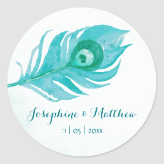 Peacock Plume Watercolor Wedding Stickers