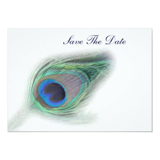 """Peacock Plumes save the date 5"""" X 7"""" Invitation Card"""